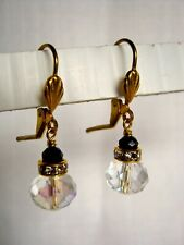 Small Vintage Drop Earrings Clear AB w Black Crystal Glass Antiqued Bronze