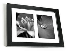 8x10 inch Black Collage Picture Frame with Two 4x6 inch Openings - White Mat -