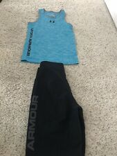 Under Armour Boys Heat Gear Blue Tank Top S  Black Board Swim Shorts Small Youth