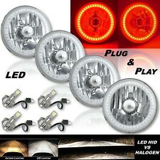"5-3/4"" Red SMD LED Halo Angel Eye Crystal Headlight & 6k LED Bulb Set of 4"