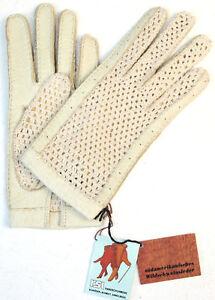 Gloves rsl Crochet Leather Women Car Finger Knitted Cream Beige 6,5 Unlined