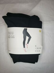 A New Day Womens Black Seamless Leggings Cotton Blend High Waisted Size S/M