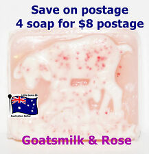 HANDMADE NATURAL TRANSPARENT SOAP Goatsmilk & Rose 100grams 4 for $8 Postage