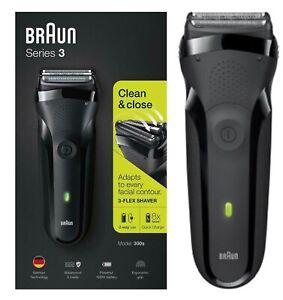 Braun 300s Series 3 Mens Rechargeable Electric Shaver Razor Waterproof - BLACK