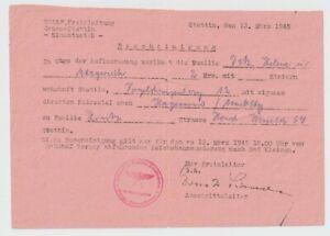 Stettin n Hagenow Meckl.,Eisenbahn, 12. März 1945, Zuweisung, Flucht aus Stettin