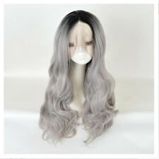 Lace Front Wig Fashion Women's Long Silver Gray Black Root Ombre Mermaid Wigs