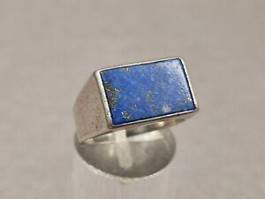 Vintage Ring 835 Silber Siegelring mit Lapis Lazuli Handarbeit Herren Ring