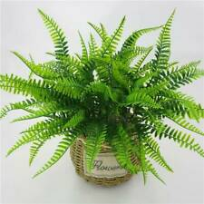 Artificial 7 Fork Fake Plastic Green Persian Grass Plant Home Display Decor