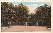 HARTFORD CONNECTICUT BARBOUR STREET ENTRANCE TO KENEY PARK POSTCARD 1920s