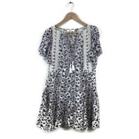 Sea New York Dress 6 Kaylee Pom Pom Floral Print Cotton A Line Women's $445
