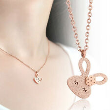 New Girl's 18K Rose Gold Filled Cute Bunny Rabbit Pendant Necklace Jewelry Gift
