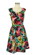 REVIEW Dress - 1950s Vintage Style Paint-Stroke Floral Pleat Cap Sleeve - 10/M