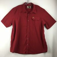 Mossy Oak Men's Classic Short Sleeve Red Button Front Shirt Size Extra Large XL