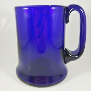 Handmade BRISTOL BLUE GLASS Cobalt Beer Stein Coffee Mug Cup Large Handle 16oz