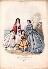 GRAVURE ANCIENNE MODES VRAIES * MUSEE DES FAMILLES N°11 AOUT 1864