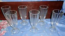 6 EXCELLENT THICK 1940'S-50'S SODA FOUNTAIN SUNDAE,MALT,FLOATS RIBBED WITH FEET