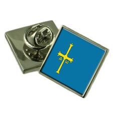 Asturias Pin de Solapa Insignia de plata esterlina 925 Grabado Personalizado Caja