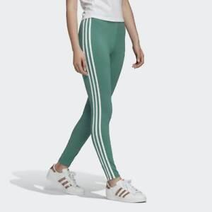 Adidas Originals ADICOLOR CLASSICS 3-STRIPES LEGGINGS Green Black 4 6 8 10 12 18
