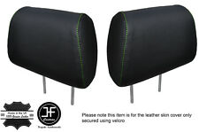 GREEN STITCH 2X FRONT HEADREST LEATHER COVERS FITS HOLDEN STATESMAN VR VS