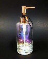 NEW BEBE PRISM,IRIDESCENT CLEAR GLASS+ROSE GOLD TON PUMP BATHROOM SOAP DISPENSER