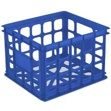 Sterilite 1692 Storage Crate Box Organizer Stacking Milk Container, Blue Morpho
