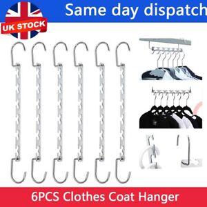 6PCS Space Saver Saving Wonder Metal Magic Hanger Clothes Closet Organize Hook