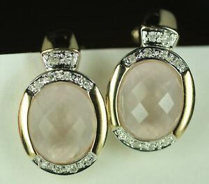 Ladies Pink Rose Quartz Diamond 14K Yellow Gold Omega Clip Earrings