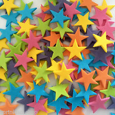 24 RAINBOW STARS edible sugar decorations birthday party cupcake cake toppers