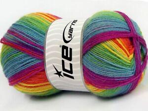 (1) 100 Gram Smart Sock Yarn Ice #67421 Pattern Rainbow Superwash Wool & Nylon