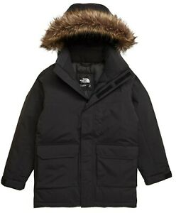 TNF $250 The North Face 550-Down Faux Fur Hooded JACKET Parka Boys M/10-12 Black