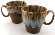 Canonsburg Vintage Drip Glaze Tapered Coffee Cups Mugs Set of 2 USA Pottery