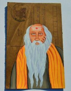 OLD RAJASTHAN MINIATURE PAINTED INDIAN POSTCARD OF INDIAN SADHU HOLY MAN  NO 59