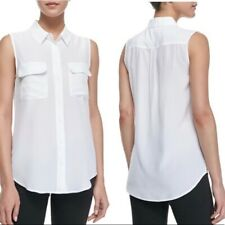 Equipment Femme Silk Off White Sleeveless Signature Silk Blouse Small S
