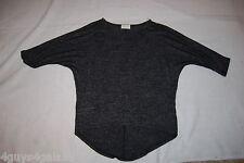 Womens Shirt TWO TONE BLACK HI-LOW 3/4 Batwing Sleeves M 8-10