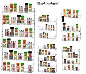 Buckingham 1- 6 Tier Spice Jar Rack Kitchen Cupboard Door Wall Storage Organiser