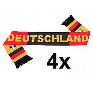4x Fanschal Schal schwarz rot gelb Schriftzug Deutschland Fußball EM Fan Artikel