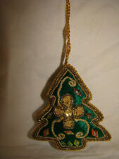 GREEN SEQUINED AND BEADED HANGING CHRISTMAS TREE DECORATION HANDMADE INDIA