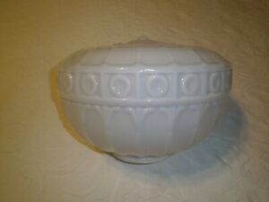 Vintage large ceiling light fixture glass globe shade unique pattern and shape