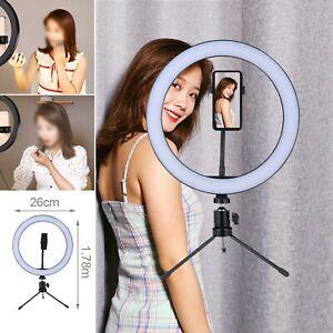 "10"" LED Ring Light Live Makeup Video Photo With Desk Tripod Phone Holder"