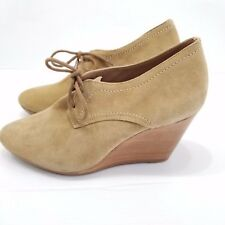 Jack Rogers Pima Suede Lace Up Wedge Bootie Tan Crosta Size 9.5M