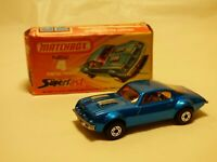 Vintage 1975 Matchbox Superfast No 4 Pontiac Firebird Diecast Blue Car Boxed Toy