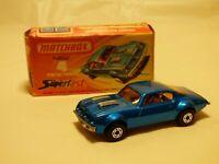 Vintage 1975 Matchbox Superfast No 4 Pontiac Firebird Diecast Blue Car Boxed Toy