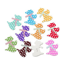 15 PAINTED POLKA DOT WOODEN SCOTTIE DOG  BUTTONS~21X27mm~Sewing~Knitting (55C)UK