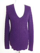 Crew clothing ladies purple cable knot cotton long jumper v neck sweater 12