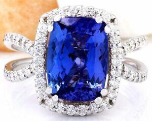 4.88 Carat Natural Tanzanite 14K Solid White Gold Diamond Ring