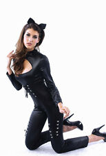 Sexy 2 Piece Catwoman Cat Faux Leather Costume Cat Catsuit Bodysuit Body Size 10