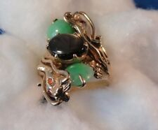 14K Yellow Gold Double Dragon Ring - Size 8 - Black Star Sapphire & (2) Jade Cab