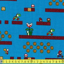 Springs Creative Fabric Super Mario Game Scenes Blue PER METRE Nintendo Retro Co