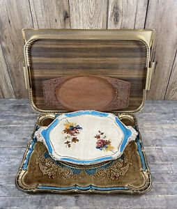 Collection Of Vintage Serving Trays to Include Carved, Floral & Retro Examples.