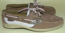 Women's 7.5 Sperry Top Sider Bluefish Leather Pink White Seersucker Boat Shoes